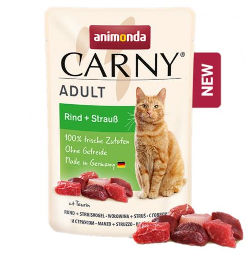 Консервы для кошек - Carny Pouch Adult Beef & Ostrich, 85 г