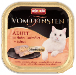 Konservi kaķiem - Vom Feinsten Chicken, Salmon and Spinach, 100 g