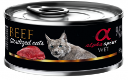 Konservi sterilizētiem kaķiem - Alpha Spirit Beef, 85 g