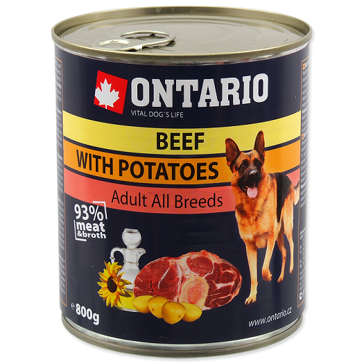 Konservi suņiem - Ontario Adult Beef and Potatos, Sunflower Oil, 800 g