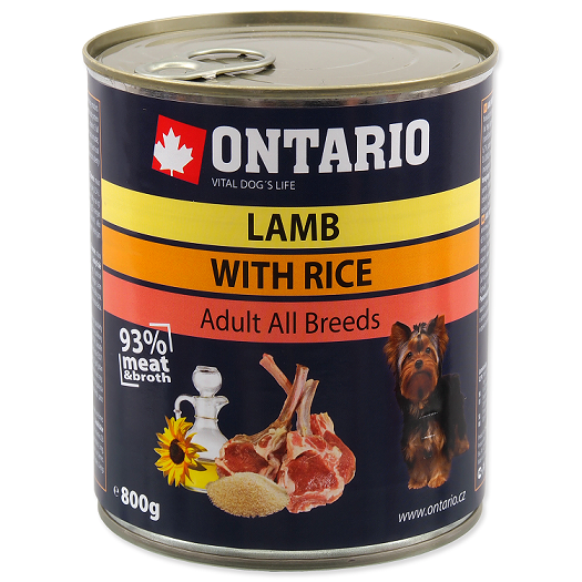 Konservi suņiem - Ontario Adult Lamb & Rice, Sunflower Oil, 800g
