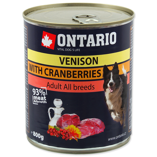 Konservi suņiem - Ontario Adult Venison and Cranberries, Safflower Oil, 800 g