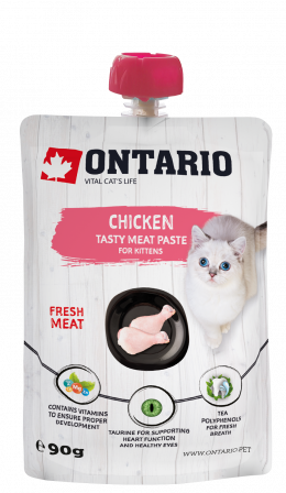 Лакомство для котят - Ontario Kitten Chicken Fresh Meat Paste, 90 г