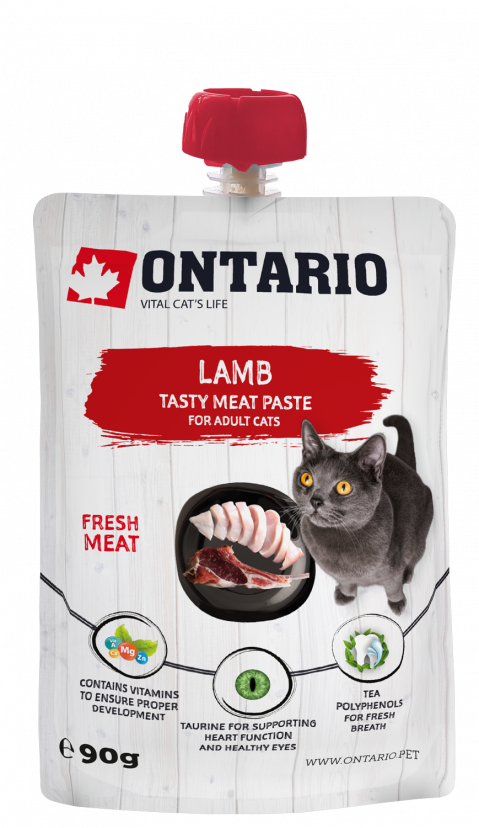 Gardums kaķiem - Ontario Lamb Fresh Meat Paste, 90 g title=