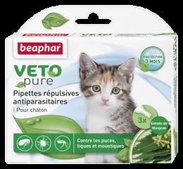 Līdzeklis pret blusām, ērcēm, odiem kaķēniem – Beaphar Spot on Veto pure, 3 gab.