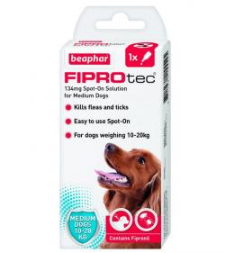Līdzeklis pret blusām, ērcēm suņiem – Beaphar Fiprotec dog, 10–20 kg, 1 pip., bezrecepšu vet. zāles, reģ. NR. VA - 072463/3