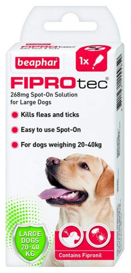 Līdzeklis pret blusām, ērcēm suņiem – Beaphar Fiprotec dog, 20–40 kg, 1 pip. bezrecepšu vet. zāles, reģ. NR. VA - 072463/3