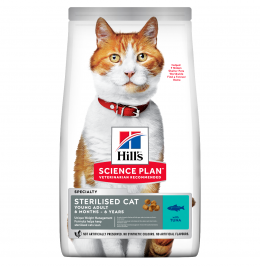 Barība kaķiem - Hill's Feline Sterilised Young Adult ar tunci, 3 kg