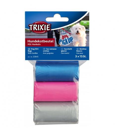 Maisiņi atkritumu savākšanai – TRIXIE Dog Dirt Bags with Handles, 3 l, 3 x 15 gab. title=