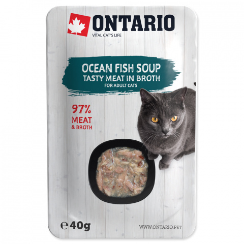 Konservi kaķiem - Ontario Soup Adult Ocean Fish with Vegetables, 40 g