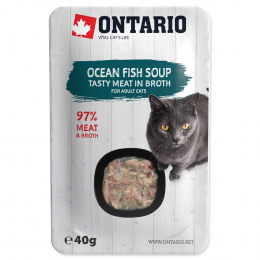 Konservi kaķiem - Ontario Soup Adult Ocean Fish with Vegetables, 40 g