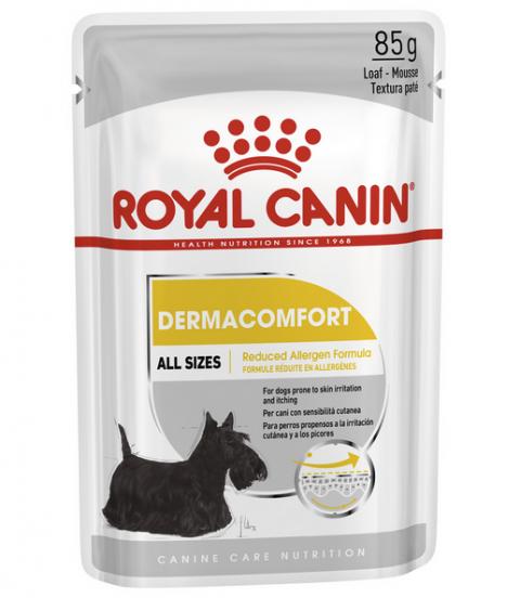 Konservi suņiem – Royal Canin Dermacomfort Loaf, 85 g title=