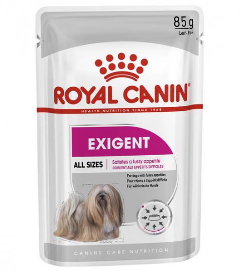 Konservi suņiem – Royal Canin Exigent Loaf, 85 g title=