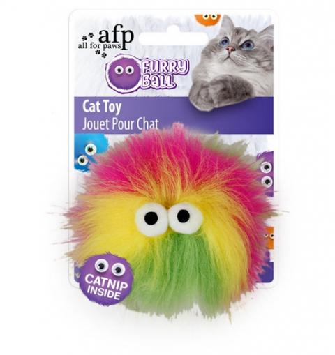 Игрушка для кошек – AFP Furry Ball Fluffy Ball, yellow title=