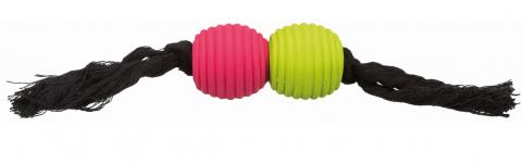 Игрушка для собак - Rope with ball, latex, cotton, 32 см title=