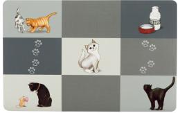 Paliktnis zem bļodām – TRIXIE Place Mat Patchwork cat, 44 x 28 cm, Grey
