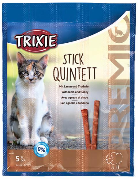 Gardums kaķiem - Premio Quadro-Sticks anti-hairball, ar jēra gaļu un tītaru, 5*5 g