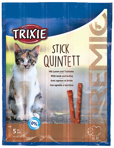 Лакомство для кошек - TRIXIE Premio Sticks Anti-Hairball, Lamb and Turkey, 5 x 5 г title=