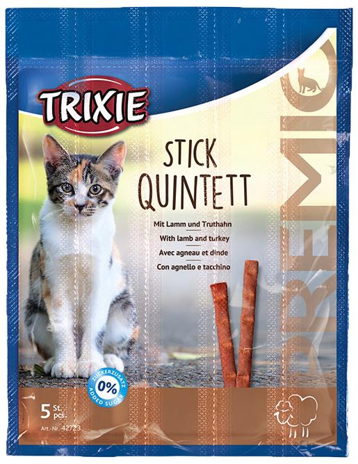 Лакомство для кошек - TRIXIE Premio Sticks Anti-Hairball, Lamb and Turkey, 5 x 5 г