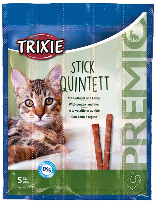 Лакомство для кошек - Trixie Premio Quadro-Sticks anti-hairball, с курицей и печенью, 4*5 г