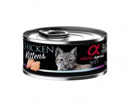 Konservi kaķēniem - Alpha Spirit Kitten Chicken, 85 g