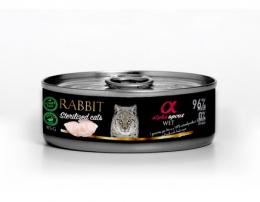 Konservi sterilizētiem kaķiem - Alpha Spirit Rabbit, 85 g