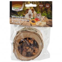 Лакомство для грызунов - Nature Land Wooden Bowl with Fruit, 120 г