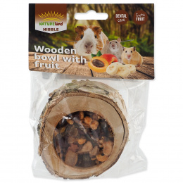 Papildbarība grauzējiem – Nature Land Wooden Bowl with Fruit, 120 g