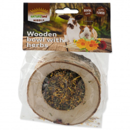 Лакомство для грызунов - Nature Land Wooden Bowl with Herbs, 120 г