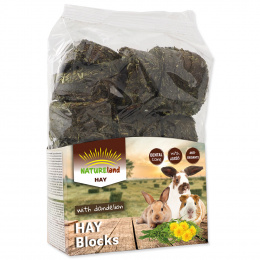Сено брусками  - Nature Land Hay blocks with Dandelion, 600 г