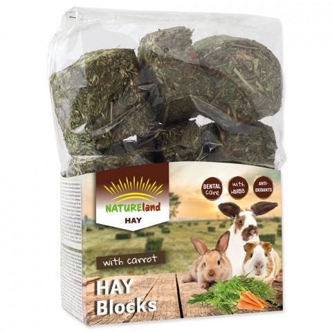 Siens grauzējiem – Nature Land Hay blocks with Carrot, 600 g title=