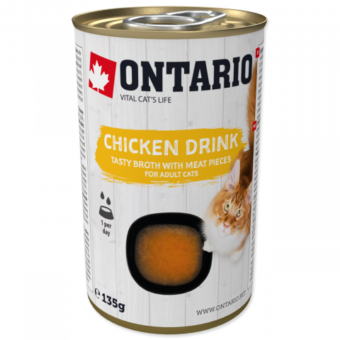Konservi kaķiem - Ontario Drink Adult Chicken, 135 g title=