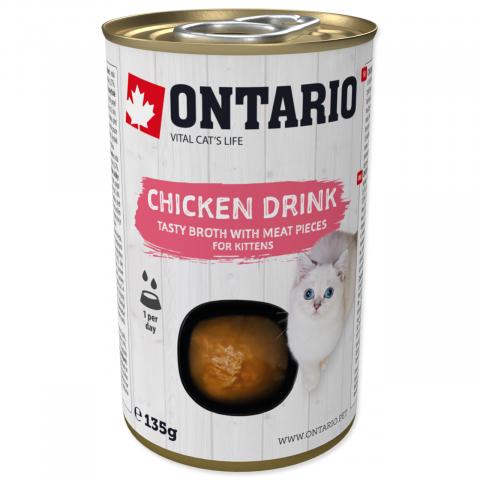 Konservi kaķēniem - Ontario Drink Kitten Chicken, 135 g title=