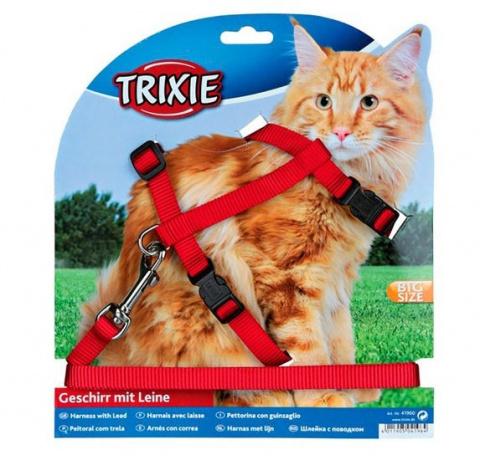 Krūšu siksna ar pavadu kaķiem - Trixie Cat harness with lead, XL, neilona