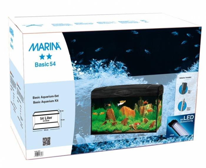 Akvārijs - MARINA Basic LED 6W, 54l, krāsa - melna