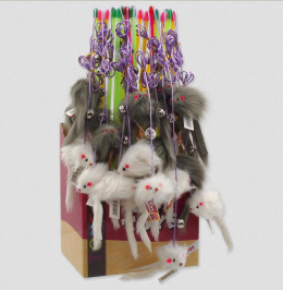 Rotaļlieta kaķiem - Magic Cat Toys, stick mouse with catnip and bell 17-49cm, mix colour