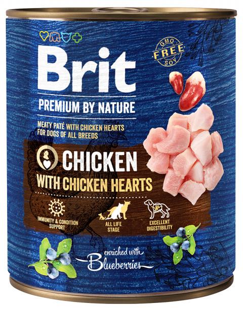 Konservi suņiem - Brit Premium Chicken with Chicken Hearts, 800 g