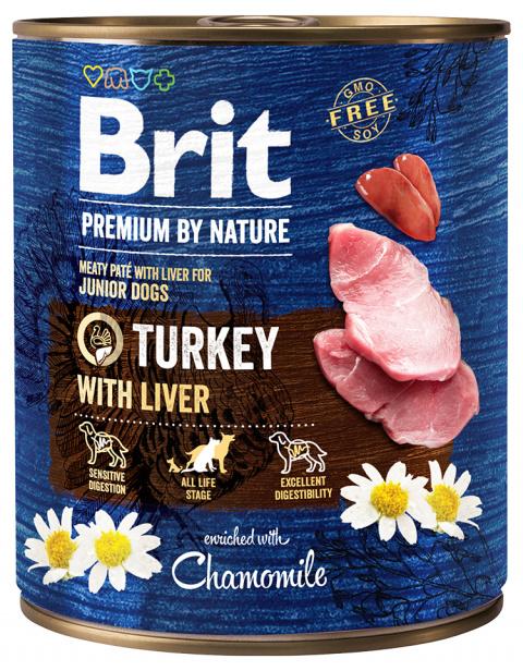 Konservi suņiem - Brit Premium Turkey with Liver, 800 g title=