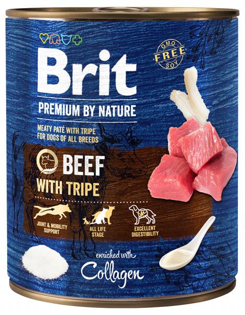 Konservi suņiem - Brit Premium Beef with Tripe, 800 g title=