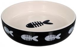 Bļoda kaķiem – MAGIC CAT, Ceramic Bowl Fish Print, Black, 13 cm