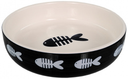 Миска для кошек – MAGIC CAT, Ceramic Bowl Fish Print, Black, 13 см