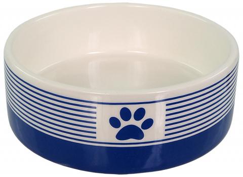 Керамическая миска – Dog Fantasy, Ceramic Bowl, Blue Strip Pattern with Paw, 12,5 см title=