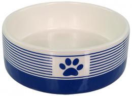 Керамическая миска  - Dog Fantasy, в синию полоску с лапкой, 12,5 см (0,28 л)