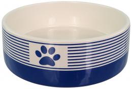 Керамическая миска  - Dog Fantasy, в синию полоску с лапкой, 16 см (0,77л)