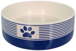 Keramikas bļoda – Dog Fantasy, Ceramic Bowl, Blue Strip Pattern with Paw, 16 cm