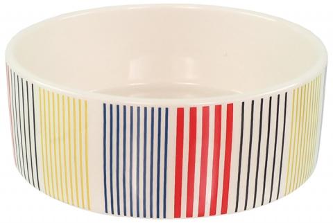 Керамическая миска – Dog Fantasy Ceramic Bowl, Colored Strip Pattern, 16 см title=