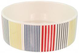 Keramikas bļoda – Dog Fantasy Ceramic Bowl, Colored Strip Pattern, 16 cm