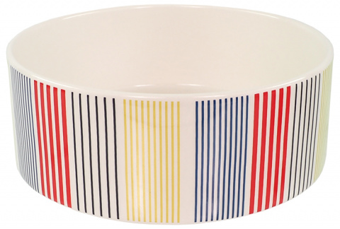 Керамическая миска – Dog Fantasy Ceramic Bowl, Colored Strip Pattern, 20 см title=