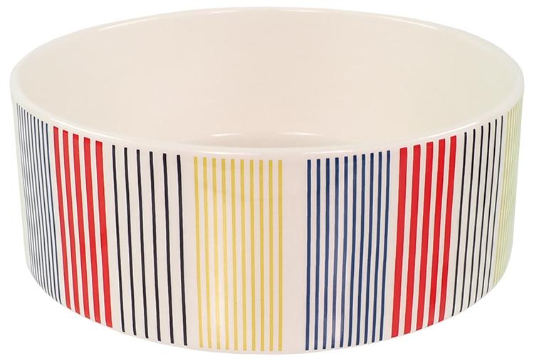 Керамическая миска – Dog Fantasy Ceramic Bowl, Colored Strip Pattern, 20 см