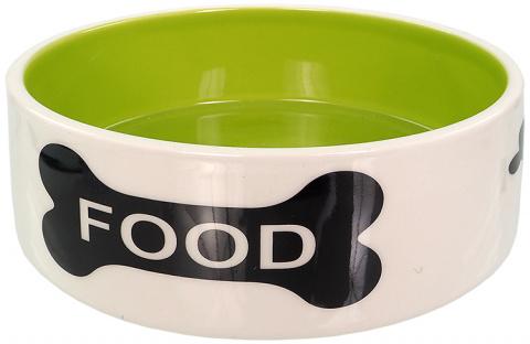Керамическая миска – Dog Fantasy Ceramic Bowl with Bone Motif, White-Green, 16 см title=